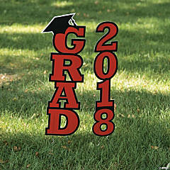 Red 2018 Grad Yard Sign