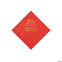 Red Always & Forever Personalized Napkins with Gold Foil - Beverage