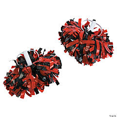 Red & Black Spirit Show Pom-Poms