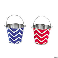 Red & Blue Chevron Pails