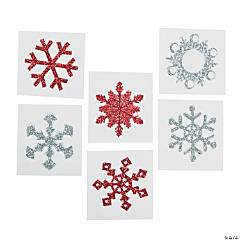 Red & Glitter Snowflake Tattoo Stickers