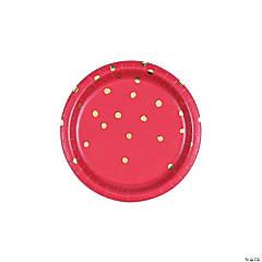 Red & Gold Foil Dot Dessert Paper Plates