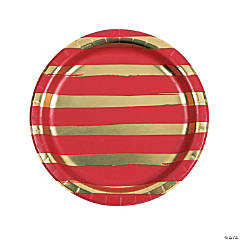 Red & Gold Foil Striped Dinner Paper Plates