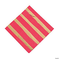 Red & Gold Foil Striped Luncheon Paper Napkins
