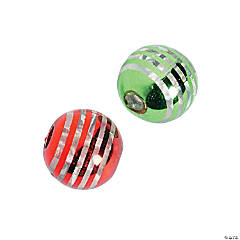 Red & Green Striped Acrylic Beads - 9mm