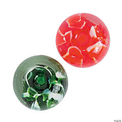Red & Green Swirl Premium Glass Beads