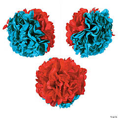 Red & Green Tissue Pom-Poms with Grommet