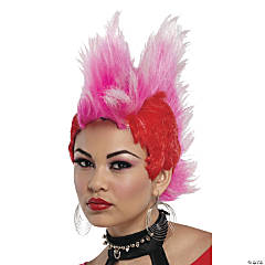 Red & Hot Pink Double Mohawk Wig