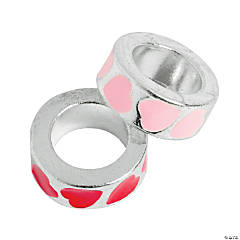 Red & Pink Heart Large Hole Beads - 12mm
