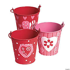 Red & Pink Mini Tinplate Valentine Favor Pails