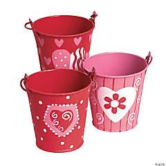 Red & Pink Mini Tinplate Valentine Favor Pails