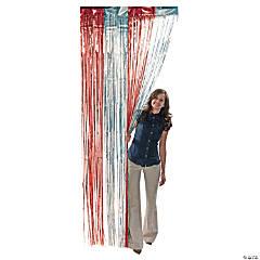 Red & Silver Foil Fringe Door Curtain