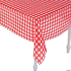 Red U0026 White Checkered Plastic Tablecloth