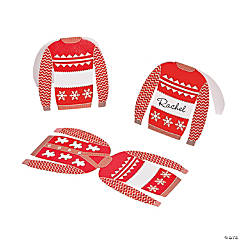 Red & White Christmas Sweater Place Cards