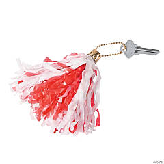 Red & White Mini Pom-Pom Key Chains