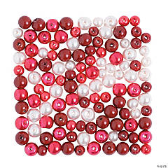 Red & White Pearl Beads - 6mm-8mm