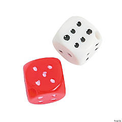 Red & White Plastic Dice Beads - 10mm
