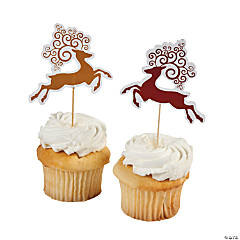 Red & White Reindeer Cupcake Picks