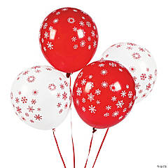 Red & White Snowflake Latex Balloons