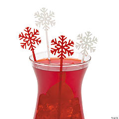 Red & White Snowflake Stir Sticks