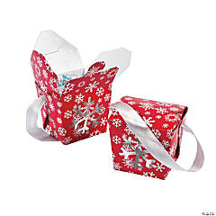 Red & White Snowflake Takeout Boxes