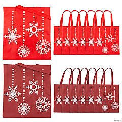 Red & White Snowflake Tote Bags