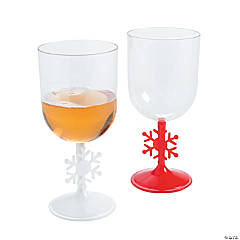 Red & White Snowflake Wine Glasses