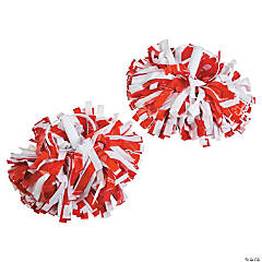 Red & White Spirit Show Pom-Poms