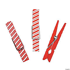 Red & White Striped Craft Clothespins