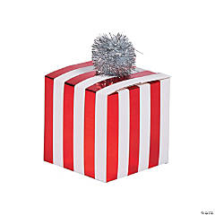 Red & White Striped Pom-Pom Treat Boxes