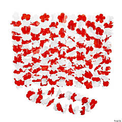 Red & White Team Spirit Flower Leis