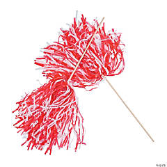 Red & White Two-Tone Spirit Pom-Poms