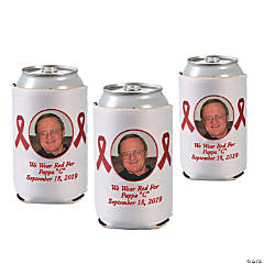 Red Awareness Ribbon Custom Photo Can Coolers