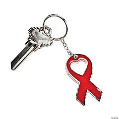 Red Awareness Ribbon Enamel Key Chains