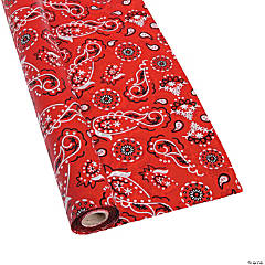 Red Bandana Plastic Tablecloth Roll