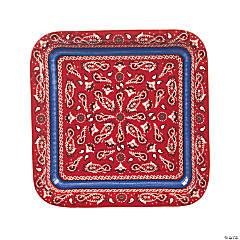 Red Bandana Square Paper Dinner Plates