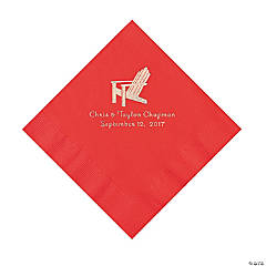 Red Beach Chair Personalized Napkins with Silver Foil - Luncheon