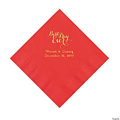 Red Best Day Ever Personalized Napkins with Gold Foil - Luncheon