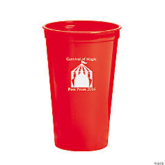 Red Carnival Personalized Plastic Tumblers