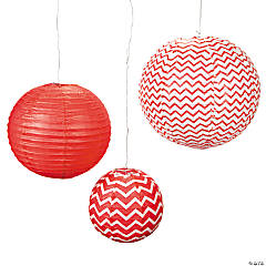 Red Chevron Hanging Paper Lanterns