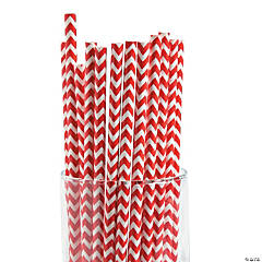 Red Chevron Paper Straws