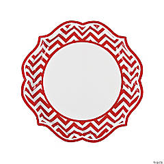 Red Chevron Scalloped Paper Dinner Plates