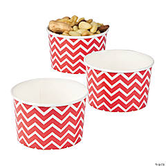 Red Chevron Snack Bowls