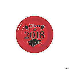 Red Class of 2018 Grad Party Dessert Paper Plates