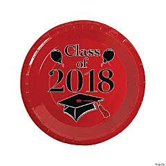 Red Class of 2018 Grad Party Dinner Paper Plates
