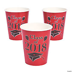 Red Class of 2018 Grad Party Paper Cups