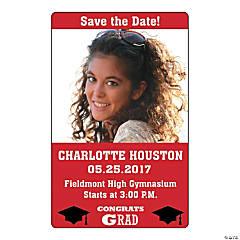 Red Congrats Grad Custom Photo Magnets