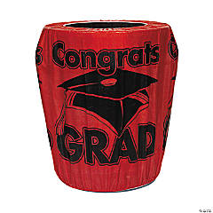 Red Congrats Grad Graduation Plastic Trash Can Cover