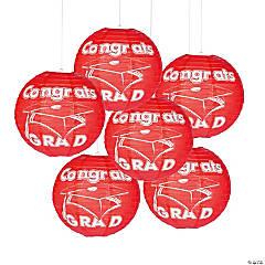 Red Congrats Grad Paper Lanterns