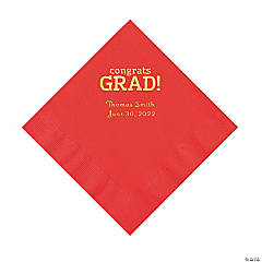 Red Congrats Grad Personalized Napkins with Gold Foil - Luncheon